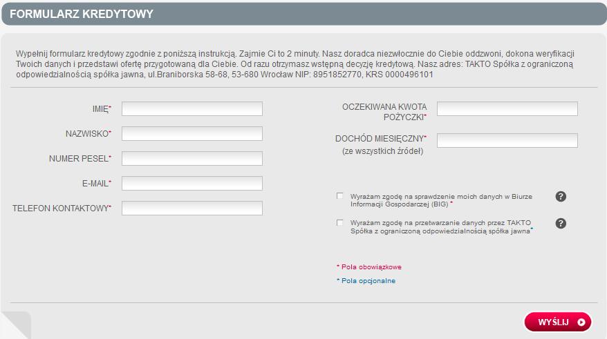 formularz wnioskowania o pożyczkę w Takto