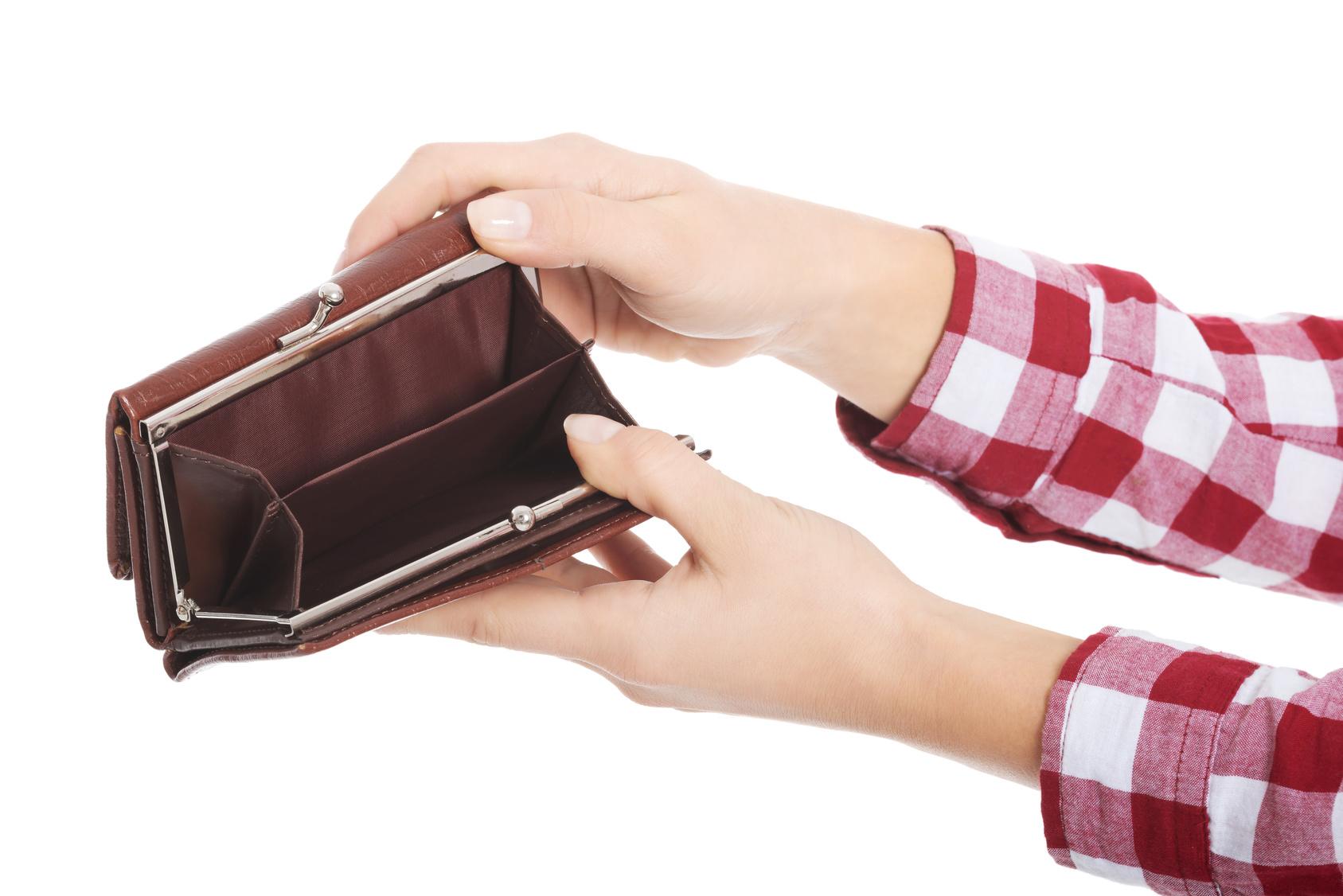 portfel bez pieniędzy