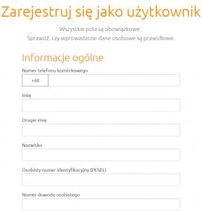 formularz rejestracyjny w creditstar