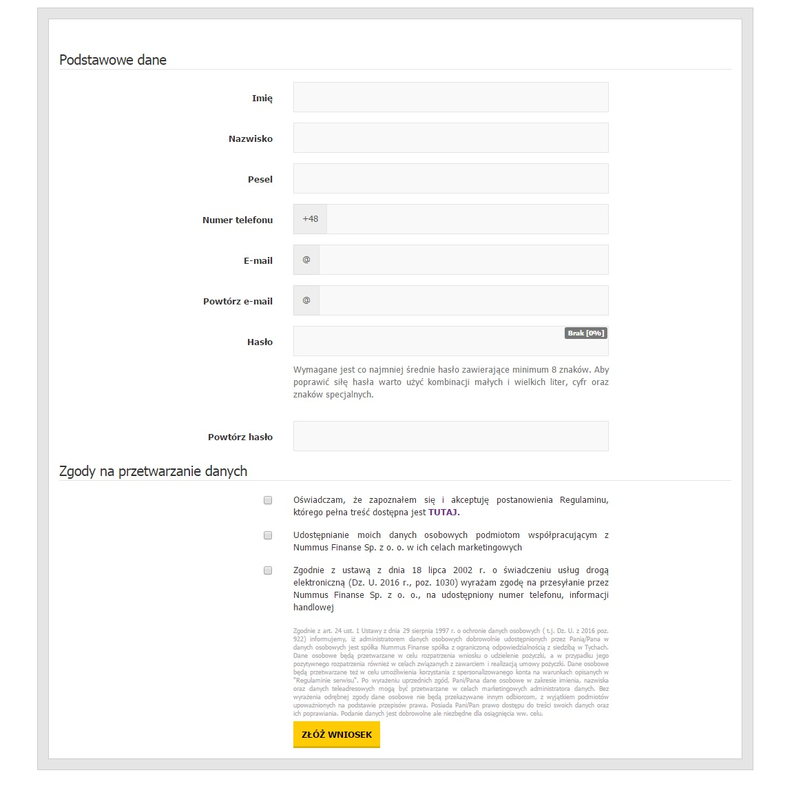 feniko - formularz