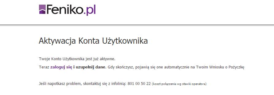 feniko - aktywacja użytkownika