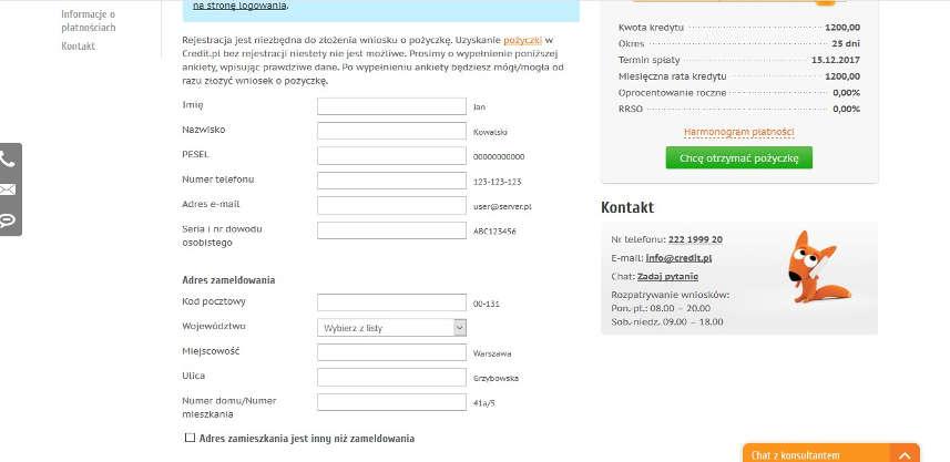 Druga strona formularza w Credit