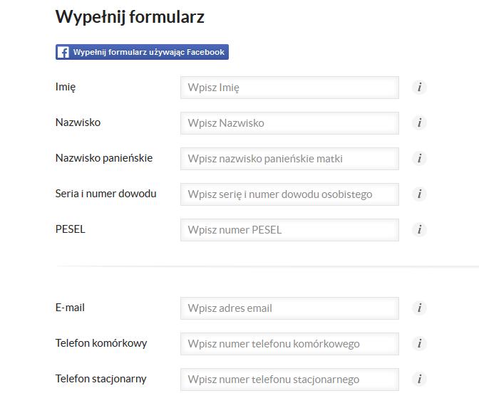 Druga strona formularza w SMS365