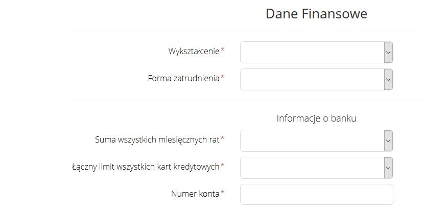 Czwarta strona formularza w Szybka Gotówka