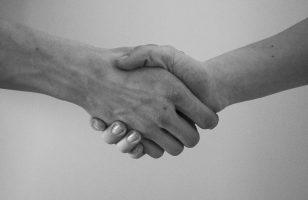 dwie osoby ściskające dłoń
