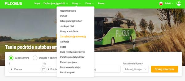 screen ze strony flixbus - zwrot biletu