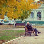 starszy człowiek na ławce w parku